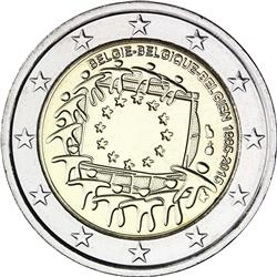 Obverse of Belgium 2 euros 2015 - 30th anniversary of the EU flag