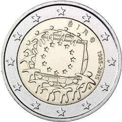 Obverse of Ireland 2 euros 2015 - 30th anniversary of the EU flag