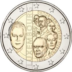 Obverse of Luxembourg 2 euros 2015 - 125th Anniversary of the Nassau-Weilburg Dynasty
