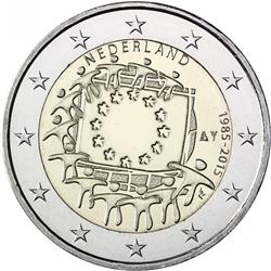 Obverse of Netherlands 2 euros 2015 - 30th anniversary of the EU flag