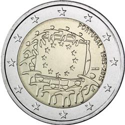 Obverse of Portugal 2 euros 2015 - 30th anniversary of the EU flag