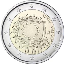 Obverse of Spain 2 euros 2015 - 30th anniversary of the EU flag
