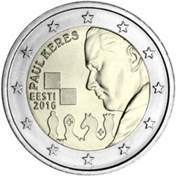 Obverse of Estonia 2 euros 2016 - 100 Years since the Birth of Paul Keres