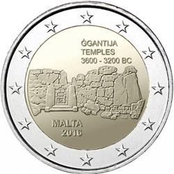 Obverse of Malta 2 euros 2016 - Maltese Prehistoric Sites - Ġgantija