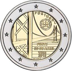 Obverse of Portugal 2 euros 2016 - Inauguration of 25th of April Bridge