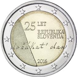 Obverse of Slovenia 2 euros 2016 - 25th anniversary of Independence