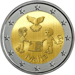 Obverse of Malta 2 euros 2017 - Children and Solidarity