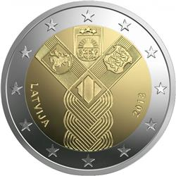 Obverse of Latvia 2 euros 2018 - 100 years of the Baltic States