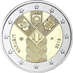 Obverse of Lithuania 2 euros 2018 - 100 years of the Baltic States