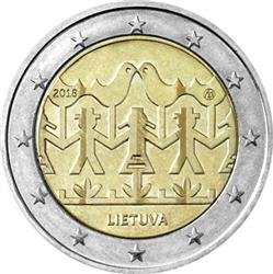 Obverse of Lithuania 2 euros 2018 - Song and Dance Festival Lithuania 2018