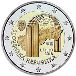 Obverse of Slovakia 2 euros 2018 - 25th Anniversary of the Slovak Republic