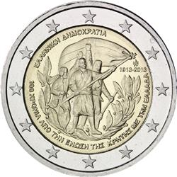 Obverse of Greece 2 euros 2013 - Union of Crete with Greece