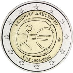 Obverse of Greece 2 euros 2009 - 10th anniversary of the EMU and the birth of the euro