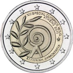 Obverse of Greece 2 euros 2011 - XIII Special Olympics World Summer Games