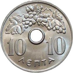 Obverse of Greece 10 lepta 1954 - Grape vain