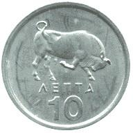 Obverse of Greece 10 lepta 1976 - Charging bull