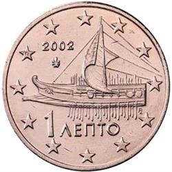 Obverse of Greece 1 cent 2002 - Athenian triere