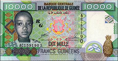 Guinee 10,000 franc banknote