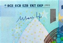 Mario Draghi's signature on euro banknotes