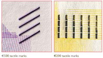 Tactile marks on 200 and 500 euro banknotes