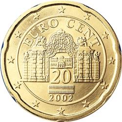 Obverse of Austria 20 cents 2005 - The Belvedere Palace
