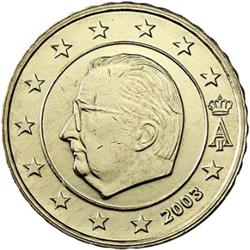 Obverse of Belgium 10 cents 2002 - Effigy and monogram of King Albert II