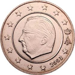 Obverse of Belgium 1 cent 2004 - Effigy and monogram of King Albert II