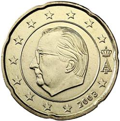 Obverse of Belgium 20 cents 2000 - Effigy and monogram of King Albert II