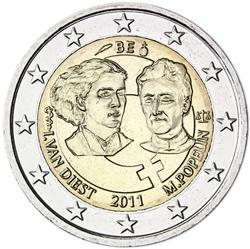 Obverse of Belgium 2 euros 2011 - 1st Centenary of the International Women's Day