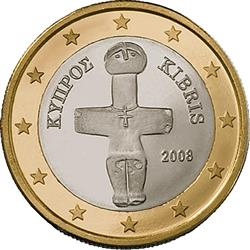 Obverse of Cyprus 1 euro 2010 - The Idol of Pomos