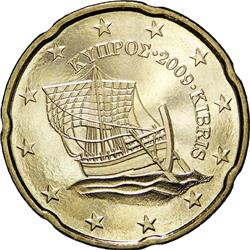 Obverse of Cyprus 20 cents 2012 - The Kyrenia ship