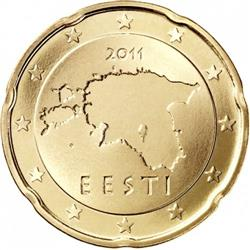 Obverse of Estonia 20 cents 2017 - Geographical image of Estonia