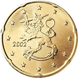 Obverse of Finland 20 cents 2000 - The heraldic lion of Finland