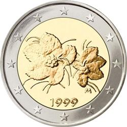Obverse of Finland 2 euros 2005 - The fruit and leaves of the cloudberry