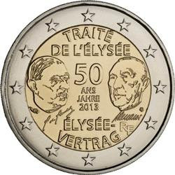 Obverse of France 2 euros 2013 - 50 Years of Franco-German Friendship (Elysee Treaty)