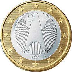 Obverse of Germany 1 euro 2002 - The German eagle
