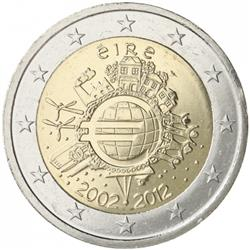 Obverse of Ireland 2 euros 2012 - 10 years of euro banknotes and coins