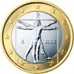 Obverse of Italy 1 euro 2004 - Drawing by Leonardo da Vinci