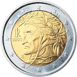 Obverse of Italy 2 euros 2010 - Portrait of Raphael of Dante Alighieri