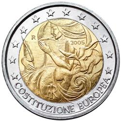 Obverse of Italy 2 euros 2005 - 1st anniversary of the European Constitution