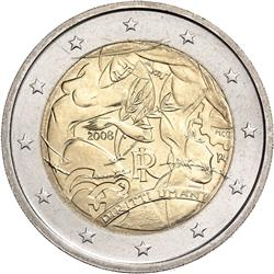 Obverse of Italy 2 euros 2008 - 60th Anniversary of the Universal Declaration of Human Rights