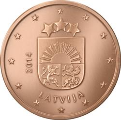 Obverse of Latvia 1 cent 2014 - Coat of arms of Latvia