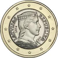 Image of Latvia 1 euro coin