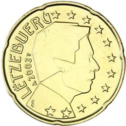 Obverse of Luxembourg 20 cents 2014 - The Grand Duke Henri