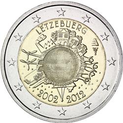 Obverse of Luxembourg 2 euros 2012 - 10 years of euro banknotes and coins