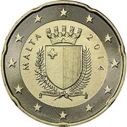 Obverse of Malta 20 cents 2016 - The emblem of Malta
