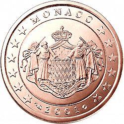 Obverse of Monaco 1 cent 2002 - Grimaldi coat of arms