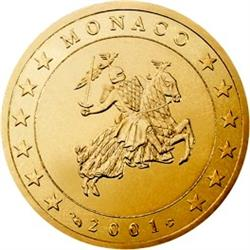 Obverse of Monaco 50 cents 2003 - The monogram of Prince Albert II
