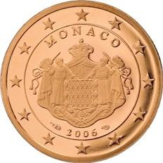Obverse of Monaco 5 cents 2009 - Grimaldi coat of arms
