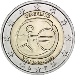 Obverse of Netherlands 2 euros 2009 - 10th anniversary of the EMU and the birth of the euro